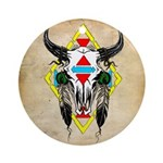 Tribal Cow Skull Ornament (Round)