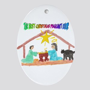 Christmas Pageant Manger Ornament (Oval)