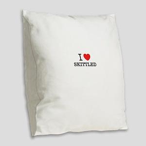 I Love SKITTLED Burlap Throw Pillow
