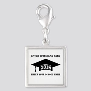 Class 2018 Silver Square Charm Charms
