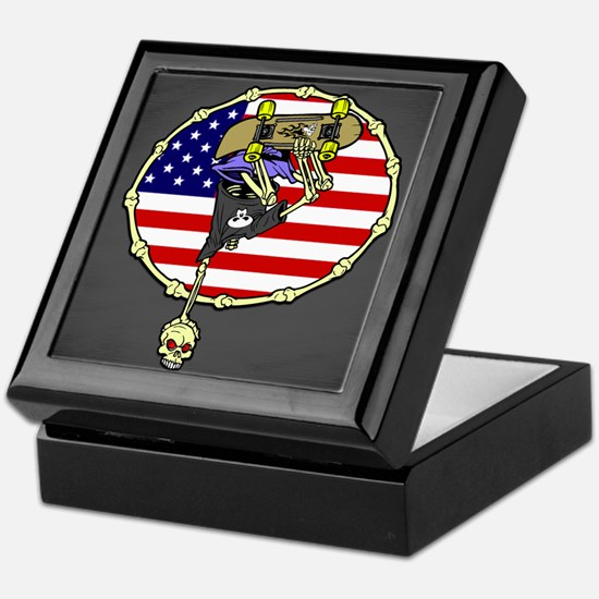 American Skater Skeleton Keepsake Box