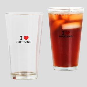 I Love HURLING Drinking Glass