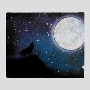Wolf Howling at Moon Throw Blanket
