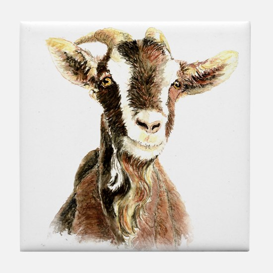 Watercolor Goat Farm Animal Tile Coaster