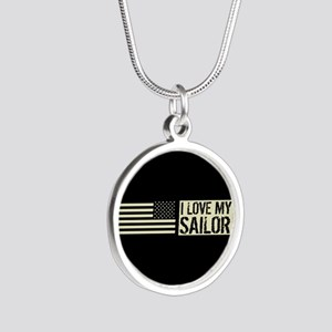U.S. Navy: I Love My Sailor Silver Round Necklace