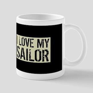 U.S. Navy: I Love My Sailor (Black Flag Mug