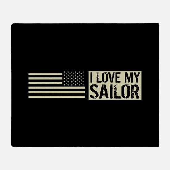 U.S. Navy: I Love My Sailor (Black F Throw Blanket