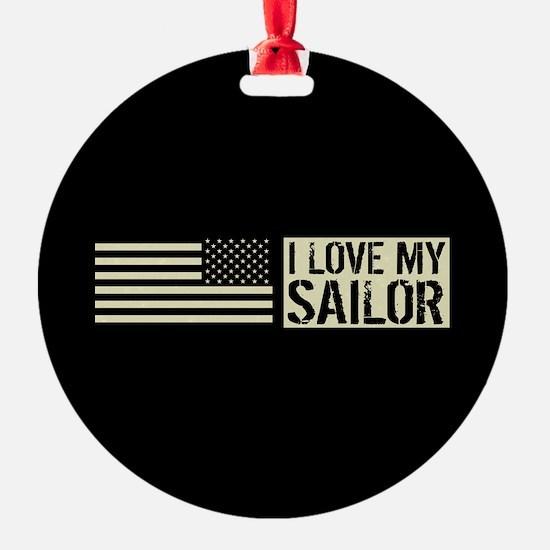 U.S. Navy: I Love My Sailor (Black Ornament