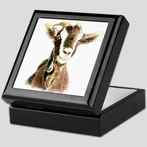 Watercolor Goat Farm Animal Keepsake Box