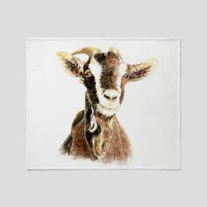 Watercolor Goat Farm Animal Throw Blanket