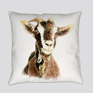 Watercolor Goat Farm Animal Everyday Pillow