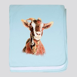 Watercolor Goat Farm Animal baby blanket