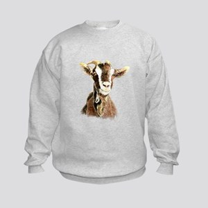 Watercolor Goat Farm Animal Kids Sweatshirt
