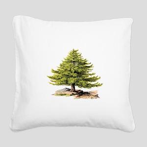 Vintage Pine Tree BM Square Canvas Pillow