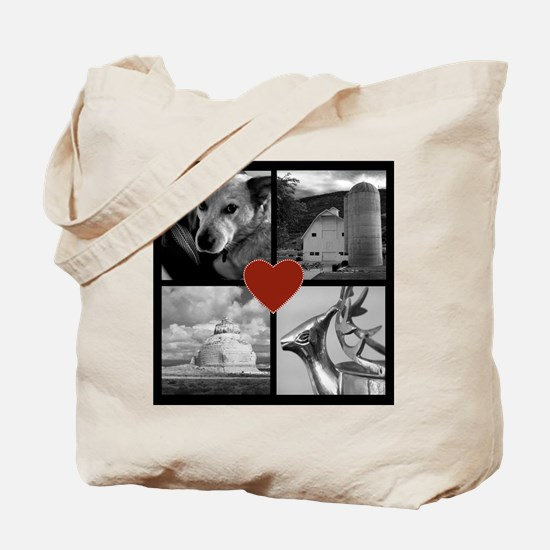 Photo Block with Heart Tote Bag