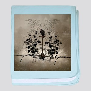 Awesome crow with flowers baby blanket