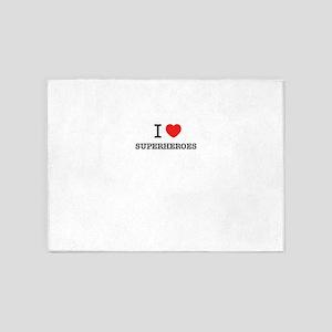 I Love SUPERHEROES 5'x7'Area Rug
