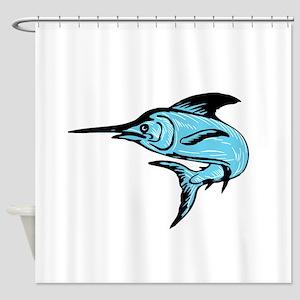 Blue Marlin Fish Jumping Drawing Shower Curtain