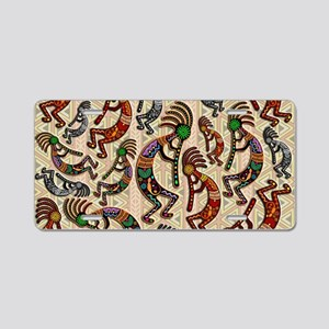 Kokopelli Rainbow Colors on Tribal Pattern Aluminu