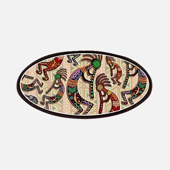 Kokopelli Rainbow Colors on Tribal Pattern Patch
