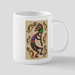 Kokopelli Rainbow Colors on Tribal Pattern Mugs