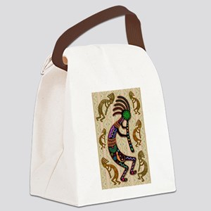 Kokopelli Rainbow Colors on Tribal Pattern Canvas