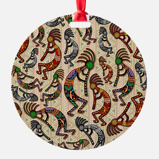 Kokopelli Rainbow Colors on Tribal Pattern Ornament