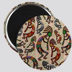 Kokopelli Rainbow Colors on Tribal Pattern Magnets