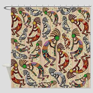 Kokopelli Rainbow Colors On Tribal Pattern Shower