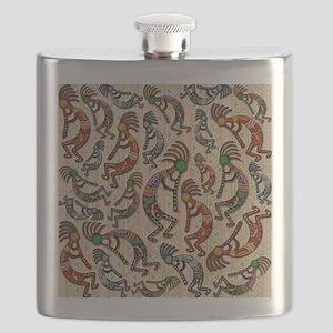 Kokopelli Rainbow Colors on Tribal Pattern Flask