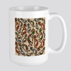 Kokopelli Rainbow Colors on Tribal Pattern Mugs