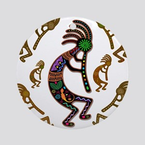 Kokopelli Rainbow Colors on Tribal Pattern Round O