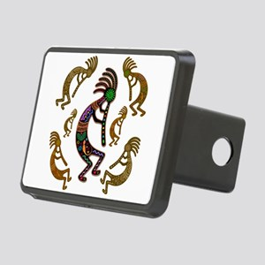 Kokopelli Rainbow Colors on Tribal Pattern Rectang