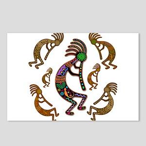 Kokopelli Rainbow Colors on Tribal Pattern Postcar