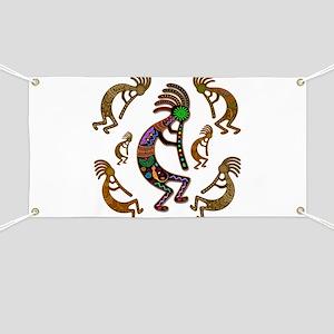 Kokopelli Rainbow Colors on Tribal Pattern Banner