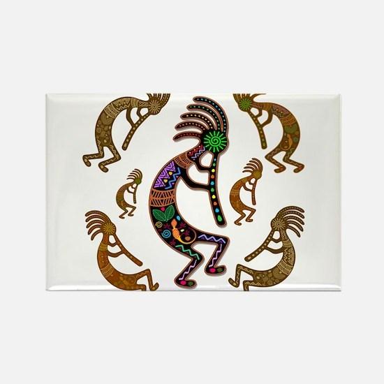 Kokopelli Rainbow Colors on Tribal Pattern Magnets