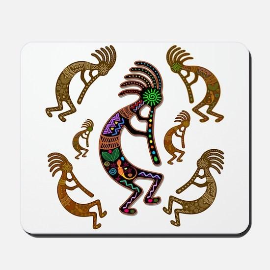 Kokopelli Rainbow Colors on Tribal Pattern Mousepa