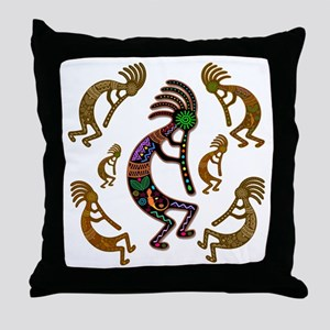 Kokopelli Rainbow Colors on Tribal Pattern Throw P