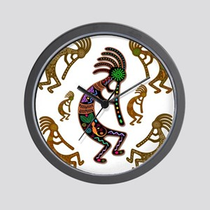 Kokopelli Rainbow Colors on Tribal Pattern Wall Cl