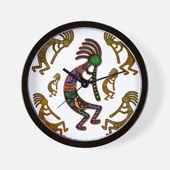 Kokopelli Rainbow Colors on Tribal Pattern Wall Cl