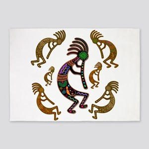 Kokopelli Rainbow Colors on Tribal Pattern 5'x7'Ar