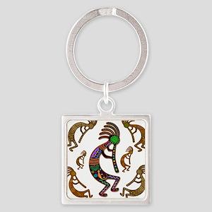 Kokopelli Rainbow Colors on Tribal Pattern Keychai
