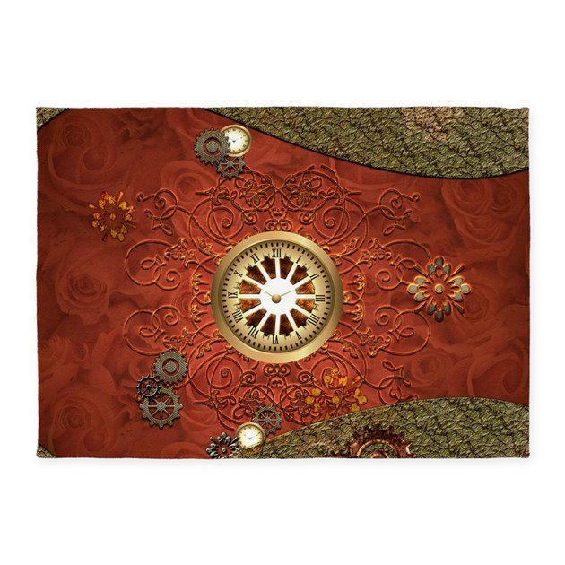 Steampunk, Clocks And Gears 5'x7'Area Rug By Fantasyworld10