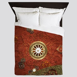 Steampunk, clocks and gears Queen Duvet
