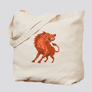 Angry Razorback Ready To Attack Drawing Tote Bag