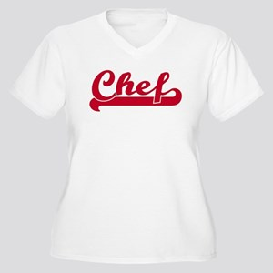 Chef (sporty red) Women's Plus Size V-Neck T-Shirt
