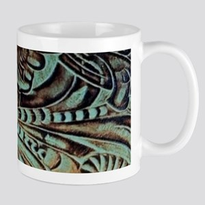 Western country Turquoise leather Mugs