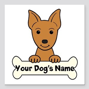 "Personalized Min Pin Square Car Magnet 3"" x 3"""