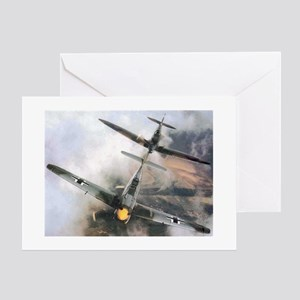 Spitfire Chasing ME-109 Greeting Cards (Package of