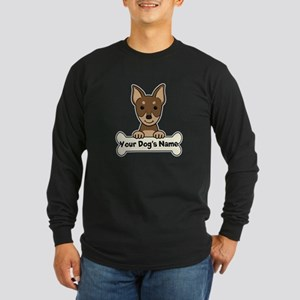 Personalized Min Pin Long Sleeve Dark T-Shirt